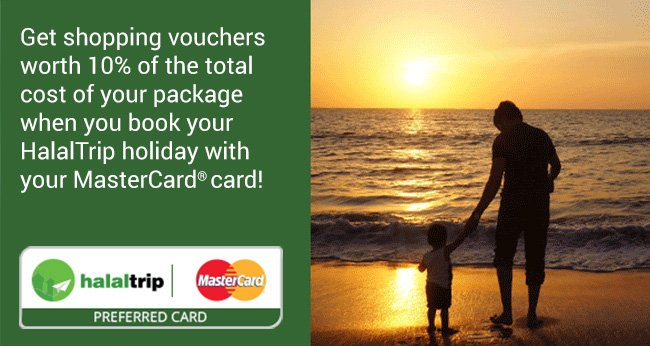 Book your next HalalTrip travel package with MasterCard & earn online shopping vouchers!