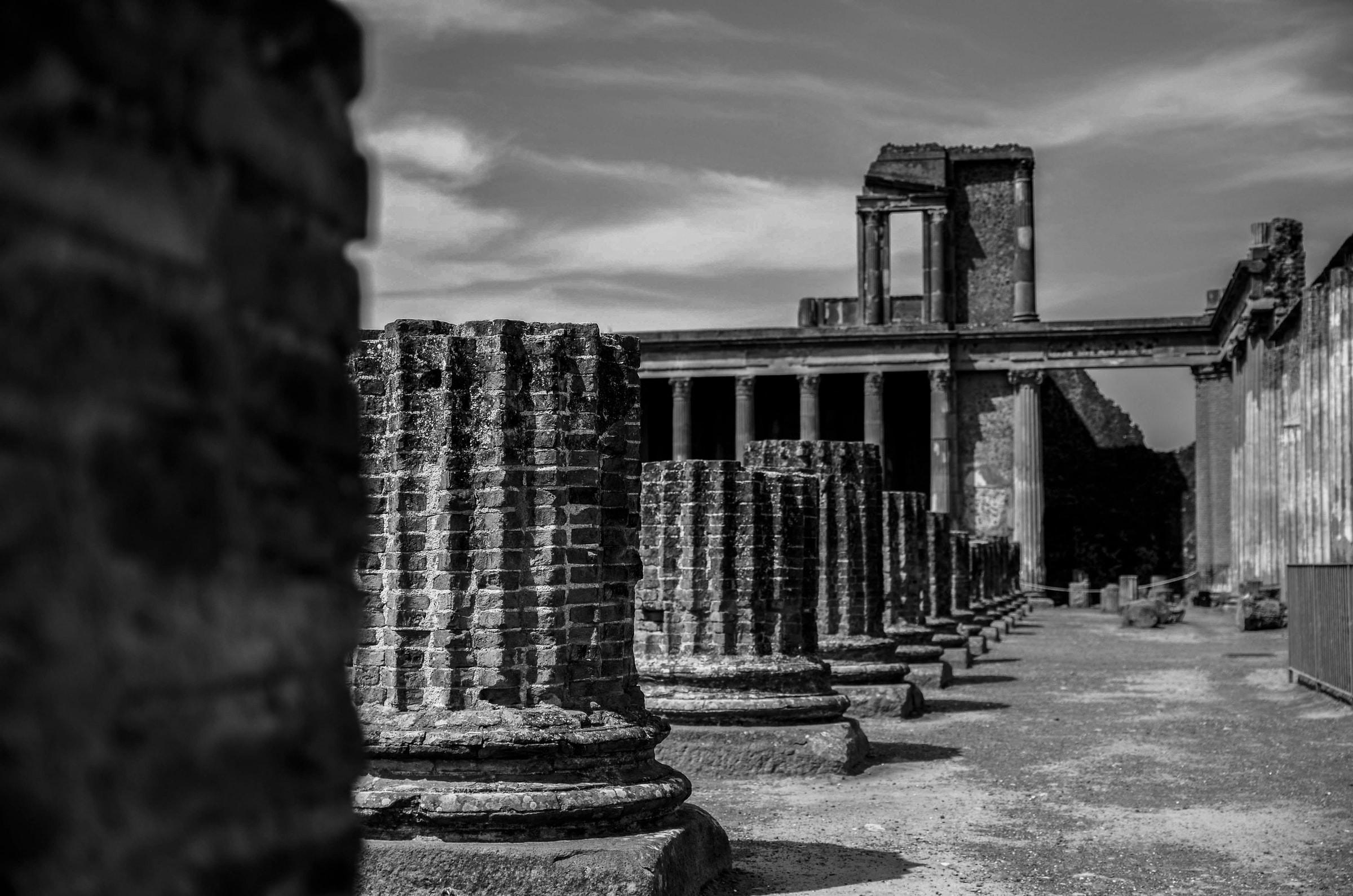 Stone Pillars in Pompeii Italy