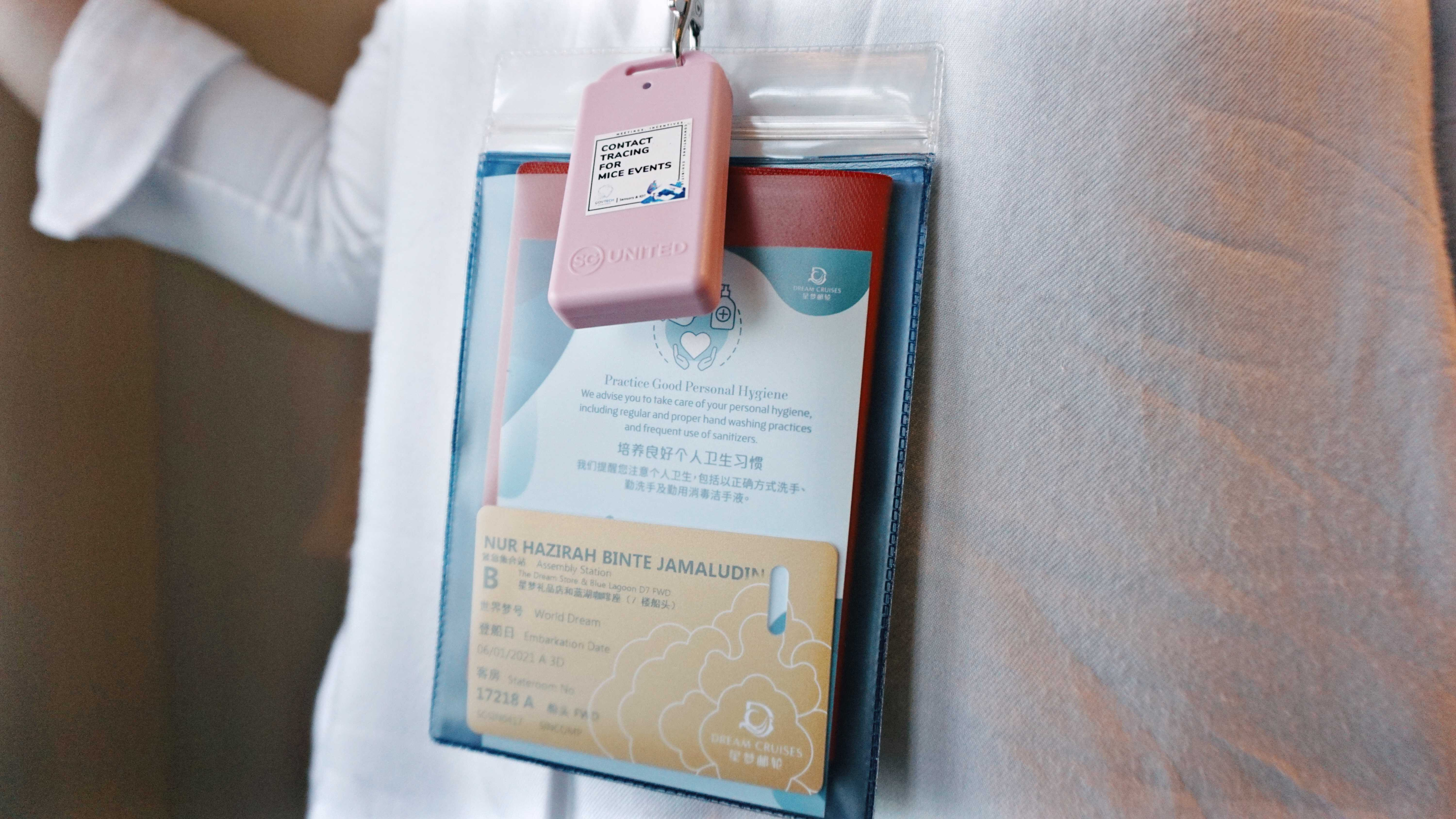 Dream Cruises World Dream Room access card, lanyard and MICE device