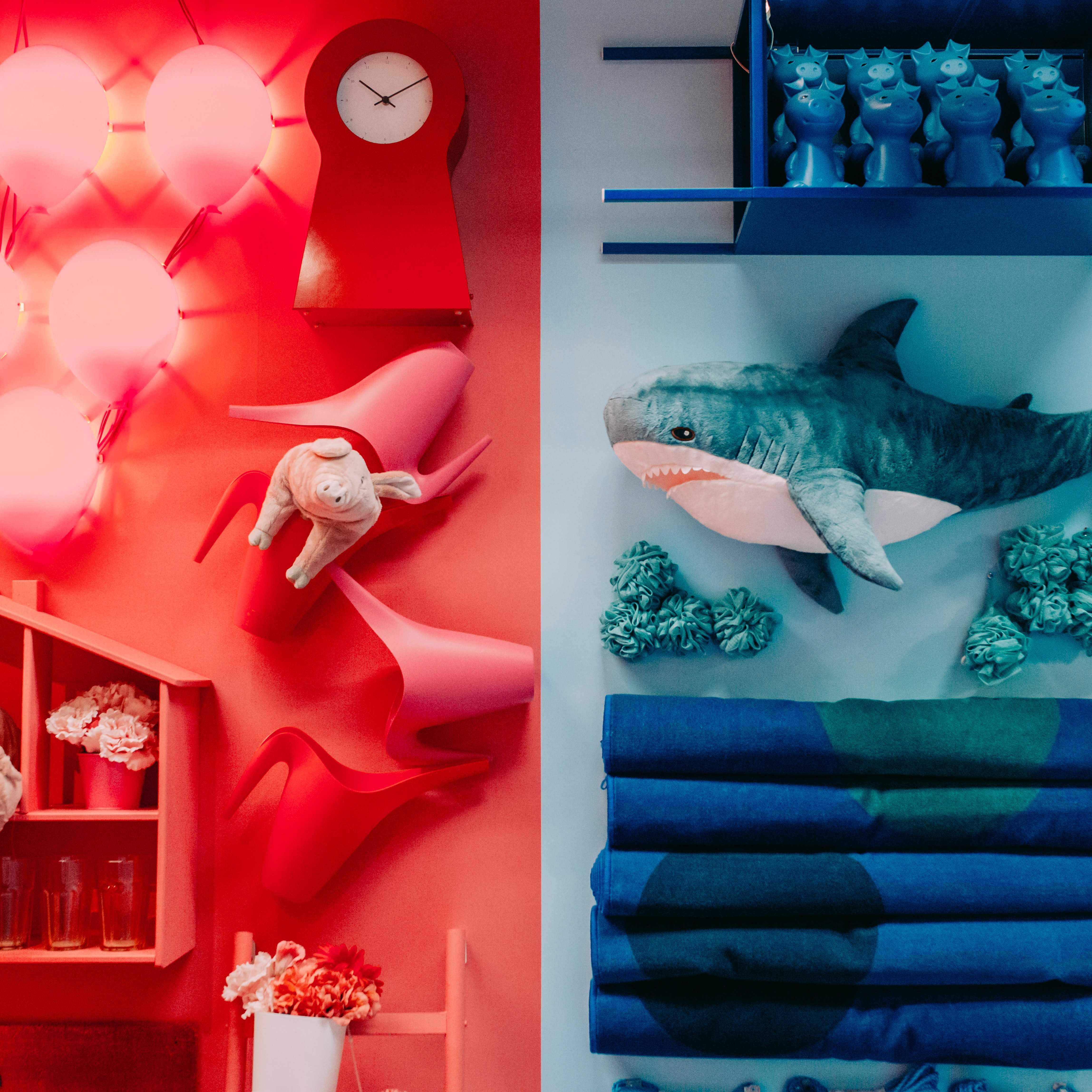 IKEA showroom red and blue vivid colours