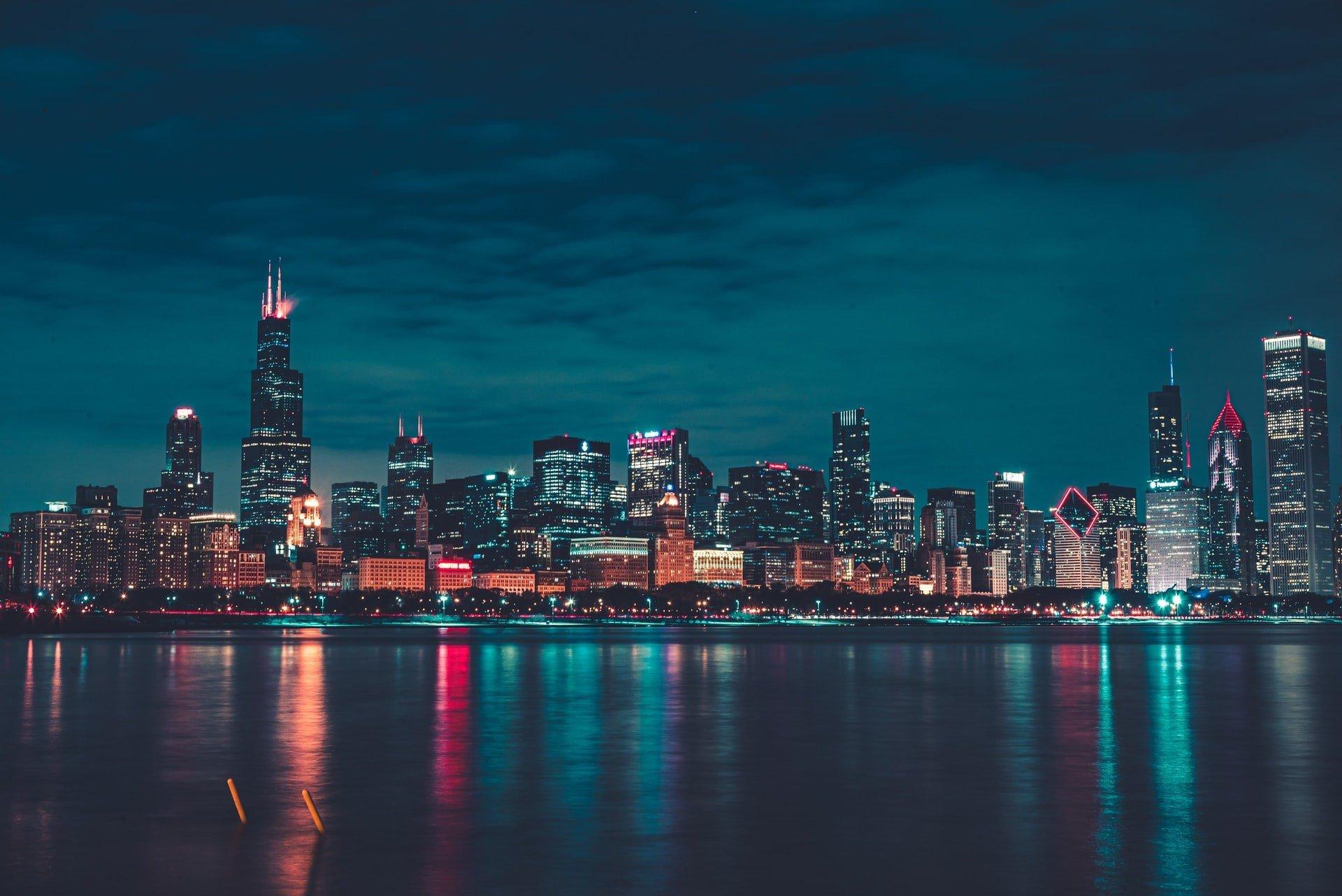 Chicago at night USA