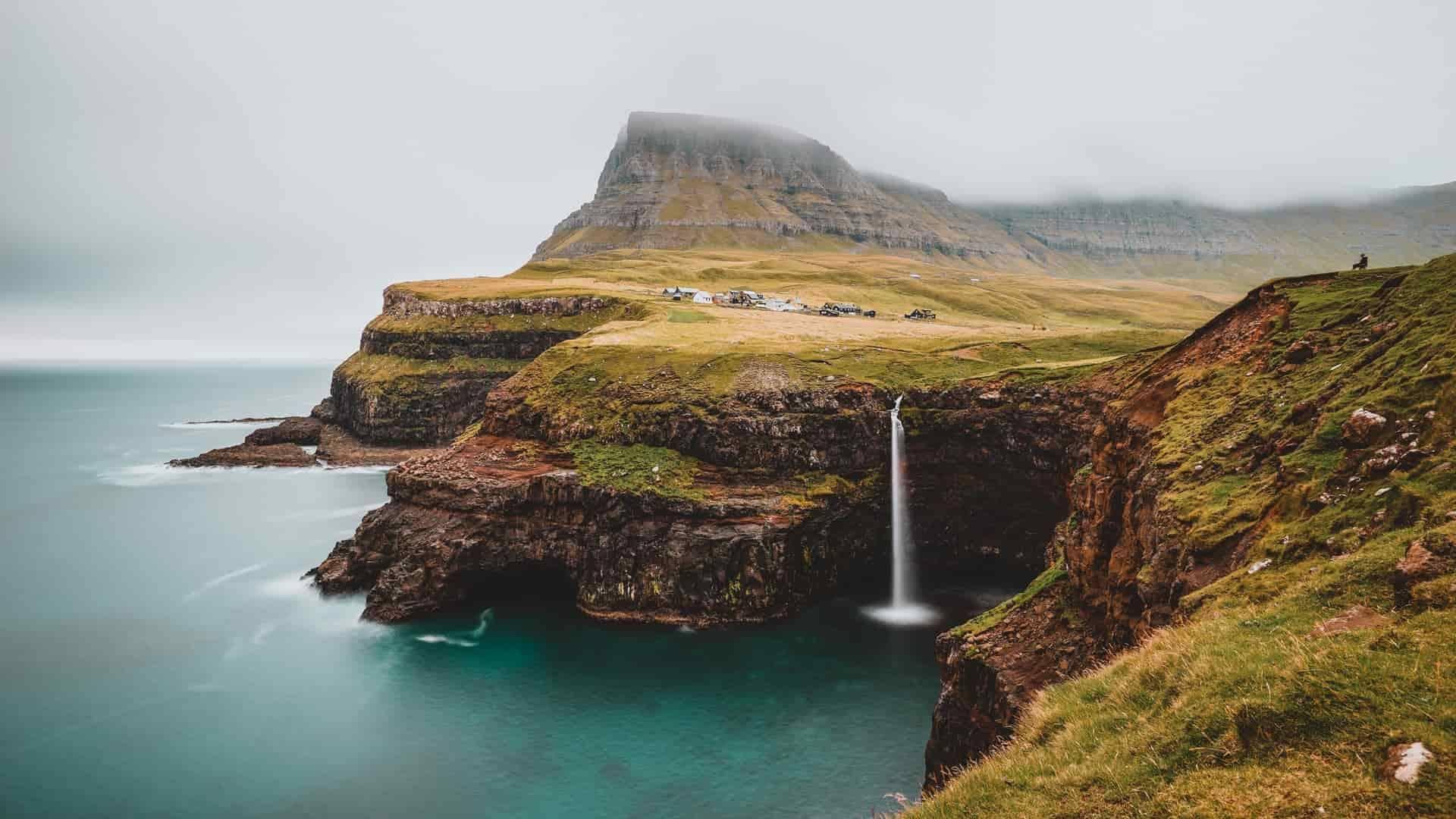 Mulafossur Waterfall the Faroe Islands