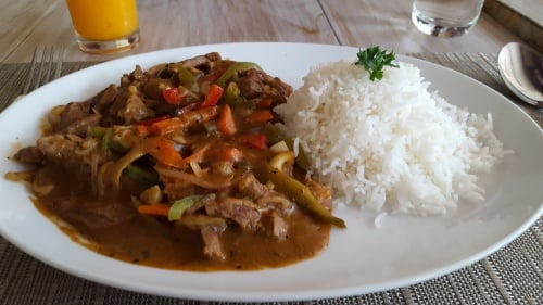 Rice with meat curry