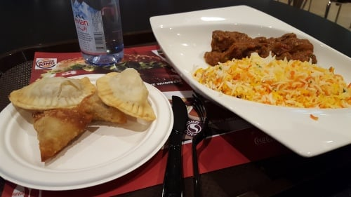 Biryani rice and meat curry