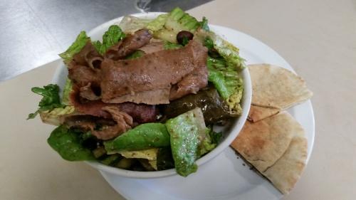 Greek salad with halal Gyro meat