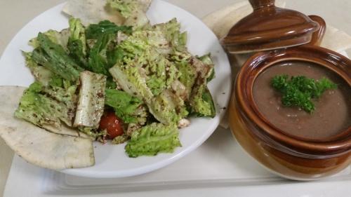 Soup & Salad: Lentil soup and Greek salad