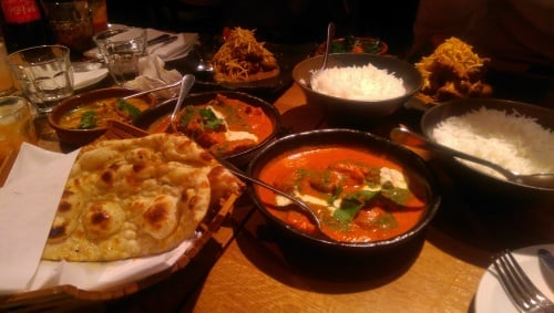 Lamb shanks, butter chicken,  plain rice and garlic naan