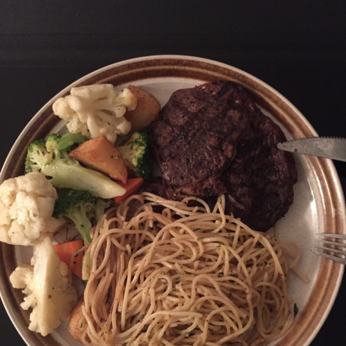 Beef steak with pasta and vege