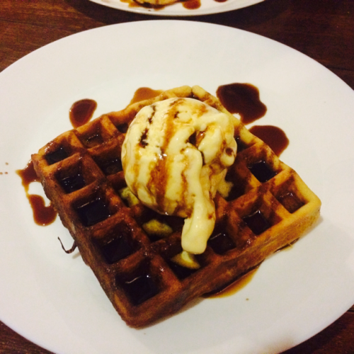 waffle with coconut ice cream