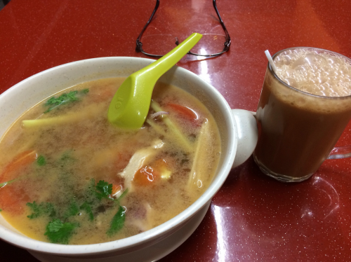 Clear Tom Yam Soup and teh tarik