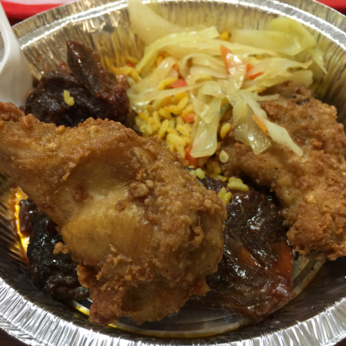 fried chicken, Rice and Cabbage