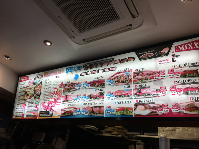 Tour Food Menu