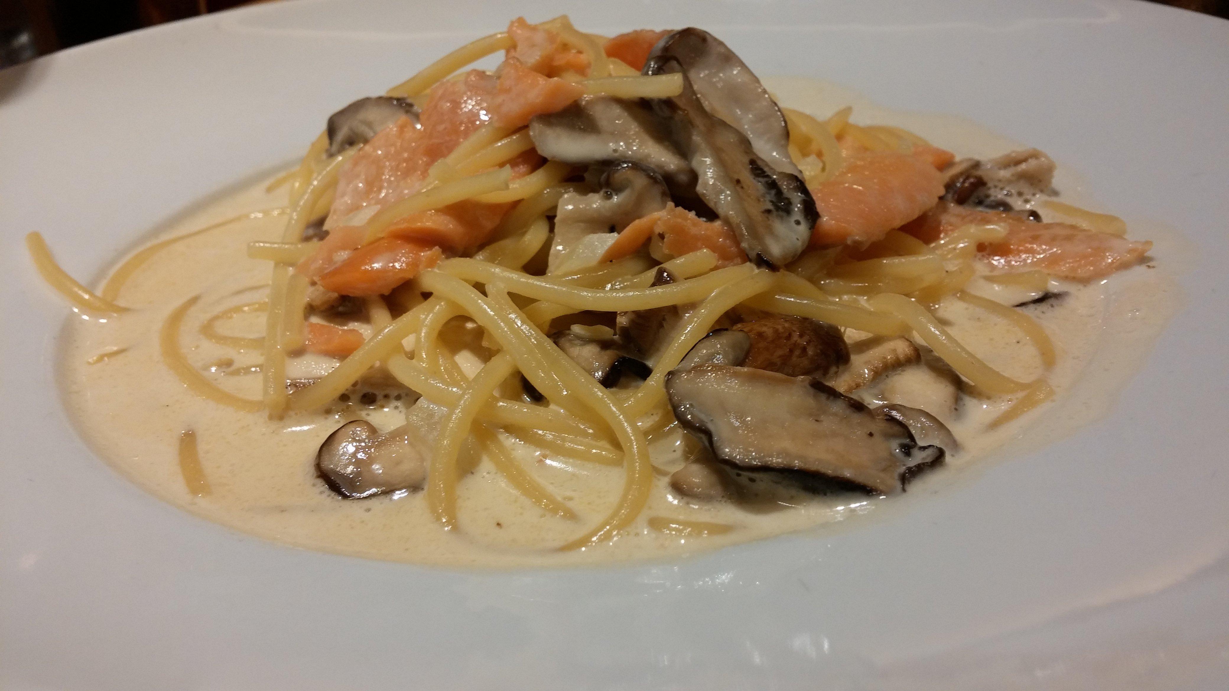 Salmon and mushroom pasta